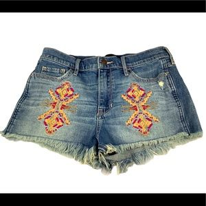 Hollister High Rise Blue Embroidered Shorties 3/26